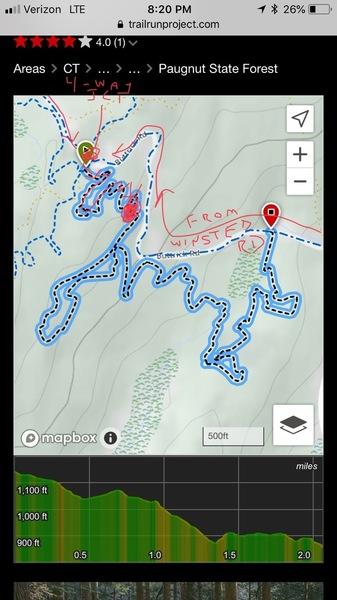 "Map of the ""Whipping Post"" trail and access to the boulder"
