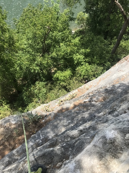 The route starts to the right in this photo.  If you look close you can see my belayer