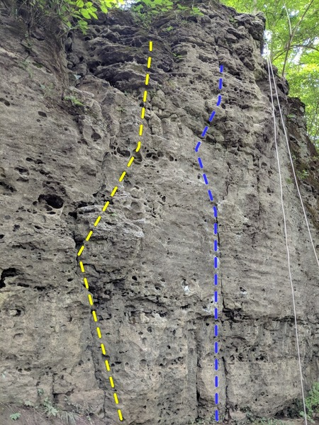 Blue Left at John Bryan State Park.  Going straight up from where our rope dropped was much more difficult than going to the left where the first crack (From the left (Yellow route)) is.  If this misrepresents pre-existing information, please notify.