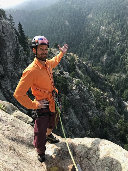 The belay ledge on the second pitch. The view is hard to beat.