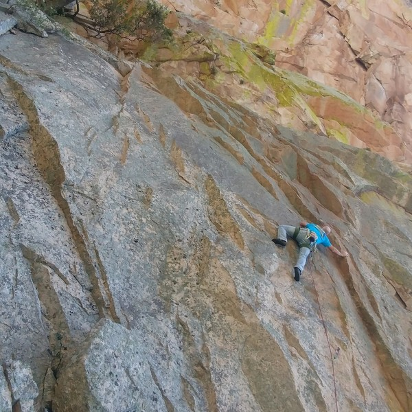 The first pitch of the route. There is less lichen now than when Jesse Schultz took this photo.