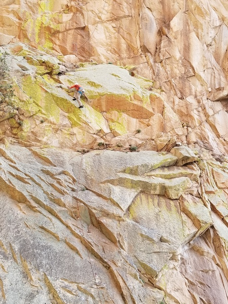 Jesse Schultz getting through the final crux of the first pitch.