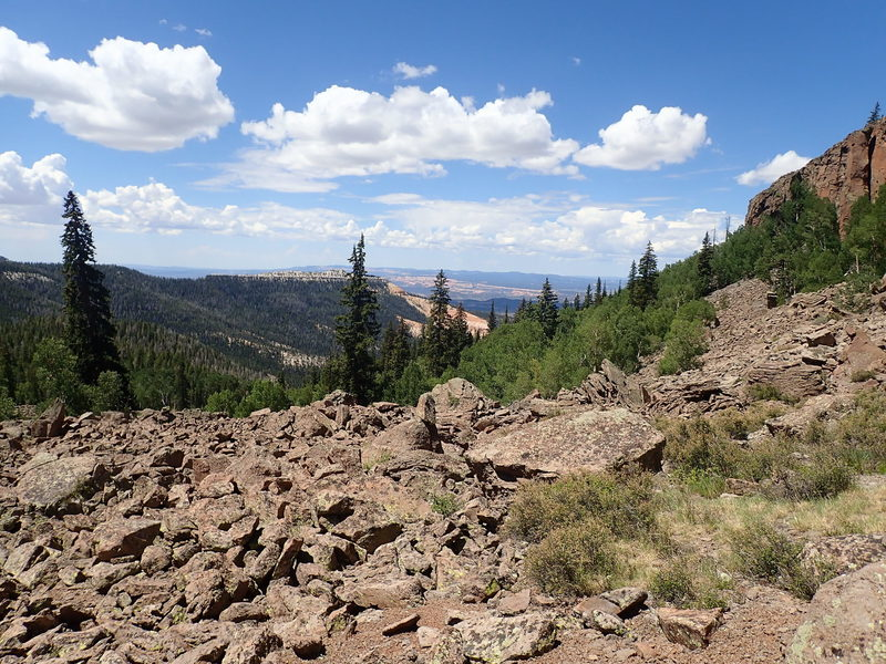 Looking west from the start of the easy trail through the talus.