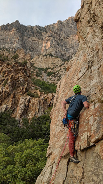 A cool perspective of the route, though its much less epic in real life. Actually enjoyed this cruzer route, the gear kept it interesting.<br> <br> Photo by James brundage