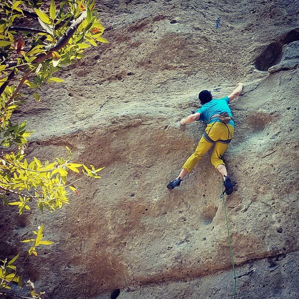 Eoghan Kyne nearing the end of the crux section.