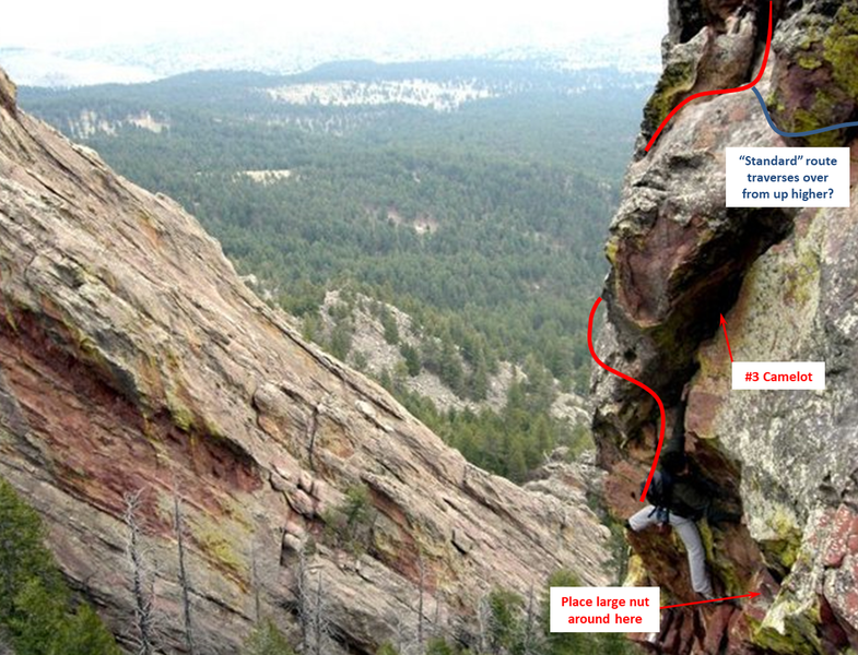 """An alternate """"crux"""" move on the 3rd pitch that is fun climbing and protects really well considering the route.  Great jugs abound making it easier than it looks.  Not much harder than 5.6."""