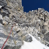 The Tooth traverse ledges, one pitch below the Notch