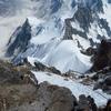 Rappel from summit with Rainy Knob far below