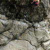 Joe Silver moving from the granite to the schist during a redpoint burn.