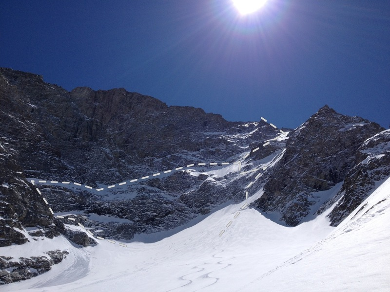 Triple Glaciers from beta angle, ski route on left, original route on right.