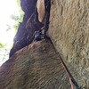 """Dog Job to Dog Job Direct can now be climbed as one route """" Dog Job Direct""""  with  trad gear and bolts to anchors. The ;large scary death blocks were removed for safety reasons."""