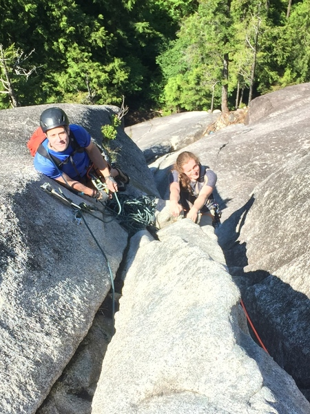 This is me belaying Elle up from the higher belay station, the gentleman to the left is at the lower station.
