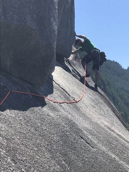 Me climbing up the money pitch, lots of friction and good placements, my kind of climb.