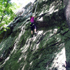 Climber on Double Bulges route.