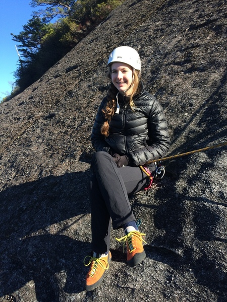 My daughter Claire chilling at a belay station. Nice sunny day mid November.