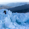 Navigating recent icefall on the route.