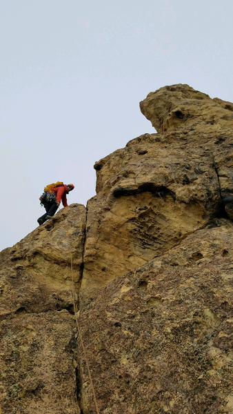 Starting up the final section to the summit. Pretty sure that was the only piece of gear I put in the whole route.