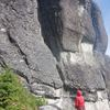 Leading Asgard Dihedral after cleaning it on rappel for an hour.
