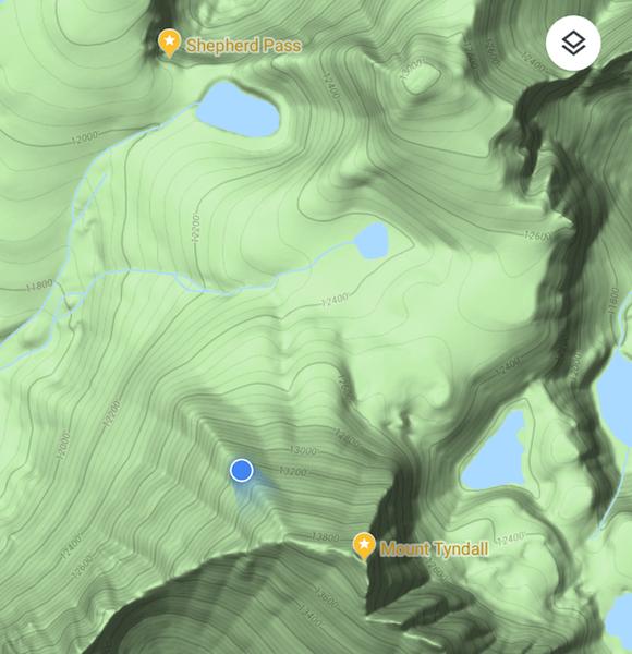 Google Map screenshot halfway up the Northwest Ridge of Mount Tyndall