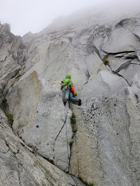 Rappelling just left of the West Face route.