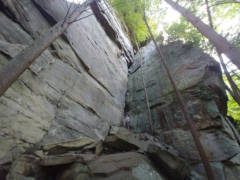 Andrew shaking out before the crux.