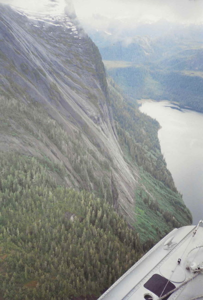 A picture from a float plane showing the angle of the upper section of rock.