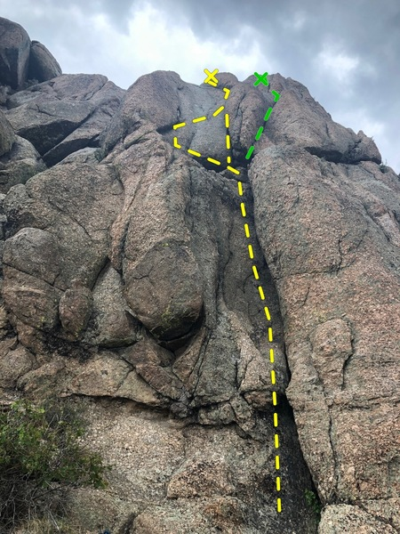 Looking up from the base at Your Mom is Hot Though and Jedi Mind. Arden Clark is a mutant and enjoyed stemming the upper section. Those of us under 6 feet tall may use a different approach... the green line shows where Jedi Mind branches off.