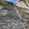 Looking up at the boulder problem crux of P6