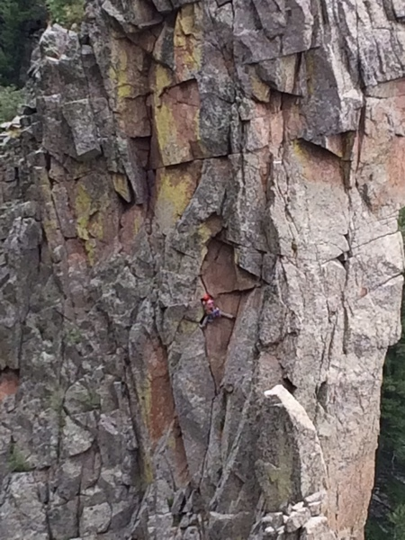 Climber at crux of p.1, May 26 2018