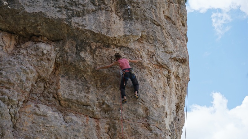 Just into the crux sequence at mid height