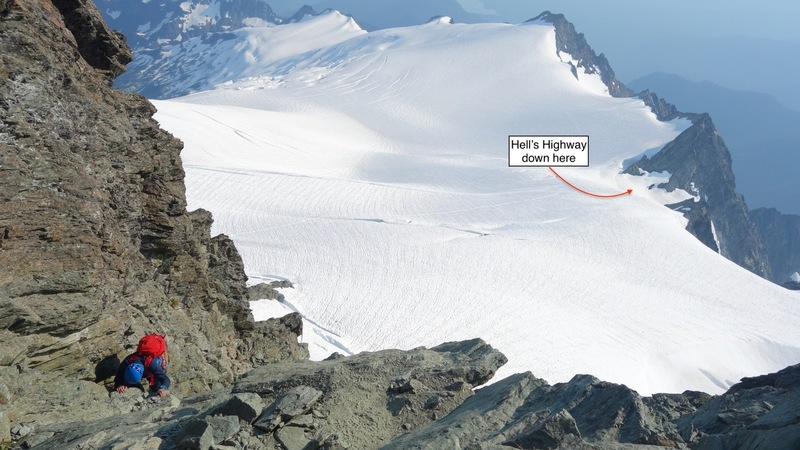 View from the summit pyramid showing the exit to Hell's Highway (08/05/18)