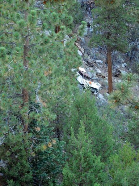 Wrecked car below Highway 38, Onyx Summit Crag