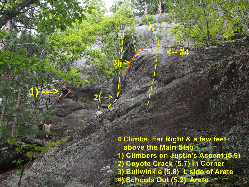 The four climbs right of the Main Wall