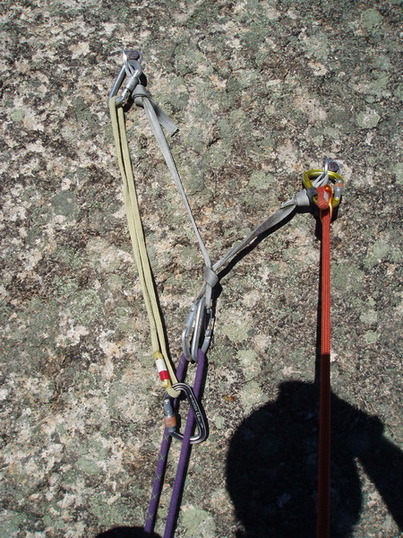 "Anchor on top of ""direct"" (and what which would probably be used for most ""Tongue"" climbs)  The biners are resident; I added one sling. Good would be to replace webbing with 8mm cord, better would be to add a 3/8 stainless bolt, best would replace both."