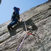 """RW on the steep start off the Tree Ledge. Notice the """"extra"""" trad gear placements."""