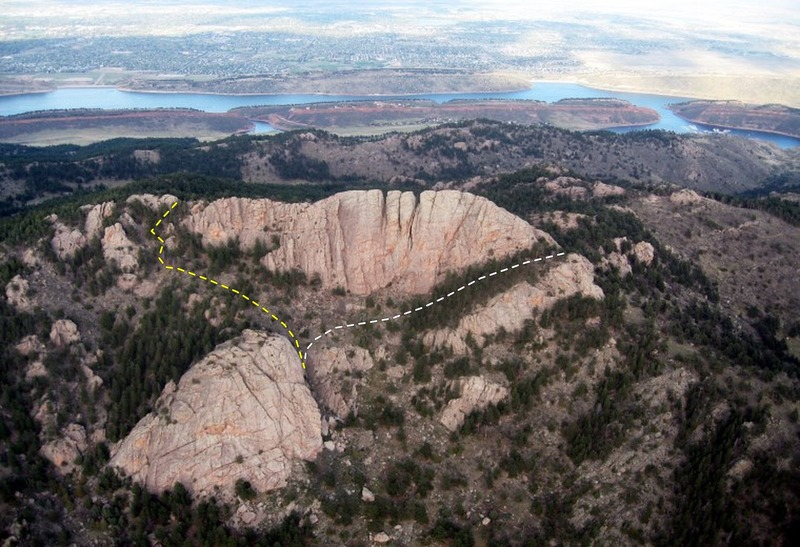 The Reservoir, Horsetooth Mt., and Outer Space Rock. The yellow climber's trail passes the north shoulder of Horsetooth while the white passes the south and skirts its base.