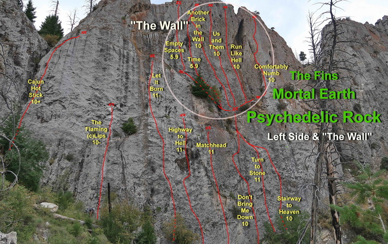 """Left side of Psychedelic Rock, the base area routes, and """"The Wall""""."""