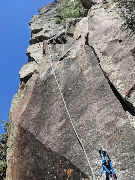Looking up from the belay. First bolt shown near arete