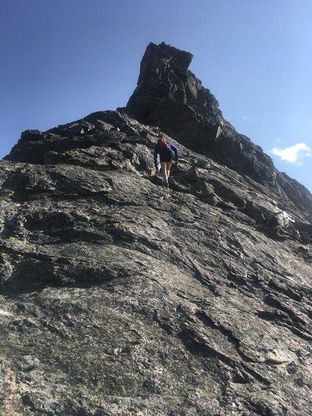 Class 4 scrambling on the NE ridge of North Arapaho Peak.