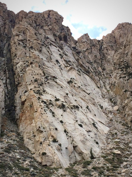 A clearer, closer shot of the Palisades School of Mountaineering (PSOM) Slab