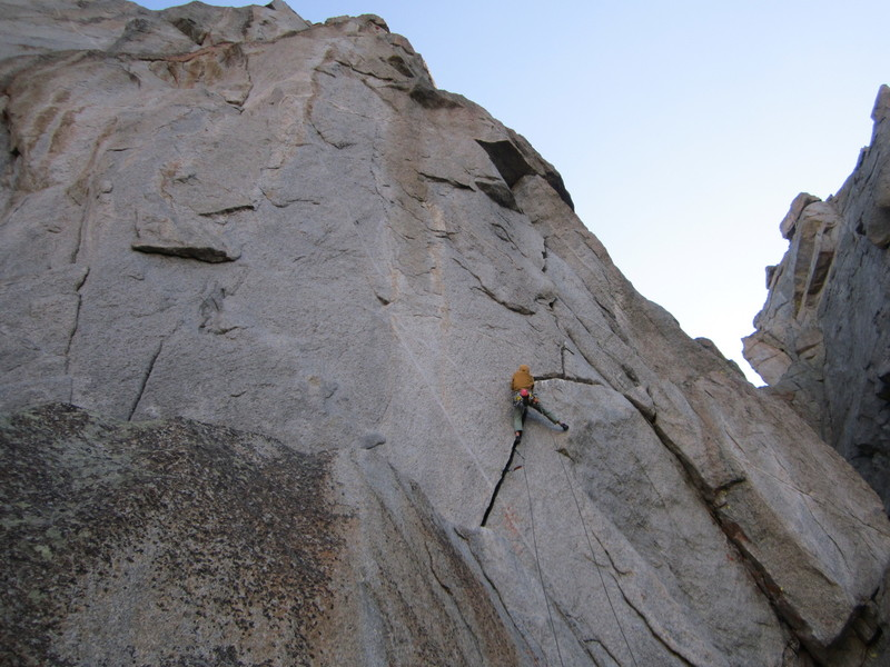 Jake Perkinson on pitch 1 of the Anaconda. This is an unfinished project that will likely be rated in the neighborhood of 5.10+. This climb is characterized by a wide crack that meaders up the face from left to right. A very high quality line.