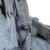 The last pitch. Normal route goes left (10d, need #5). Variation up and right (where we went, 10c, don't need #5).