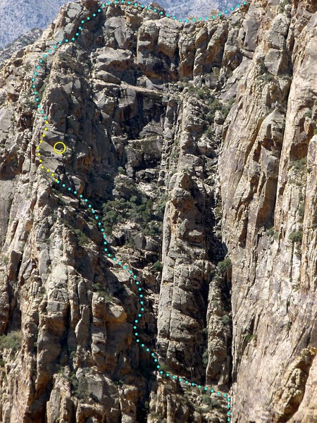 General line we took. Slabby arete in yellow w/ yellow circle belay below a headwall; Thanks to Larry