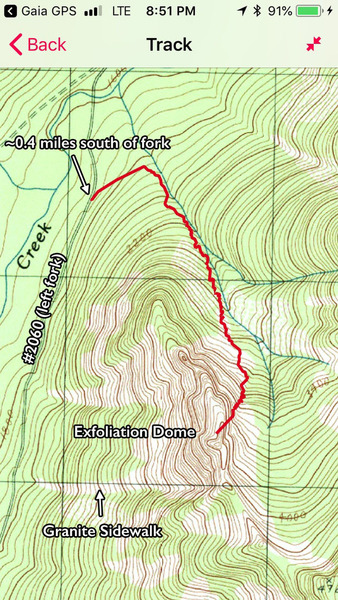 Map of approach to Snake Charmer on Exfoliation Dome