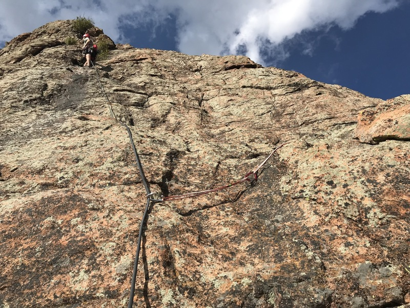 Running up the last pitch (P3) of Six Toed Cats, atop Meadow Dome at Staunton Rocks.