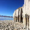 A section of the spectacular Crowley Columns with frozen lake & mountains west.