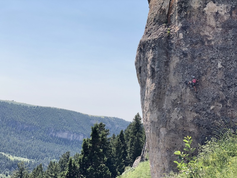 Erica launching into the first crux