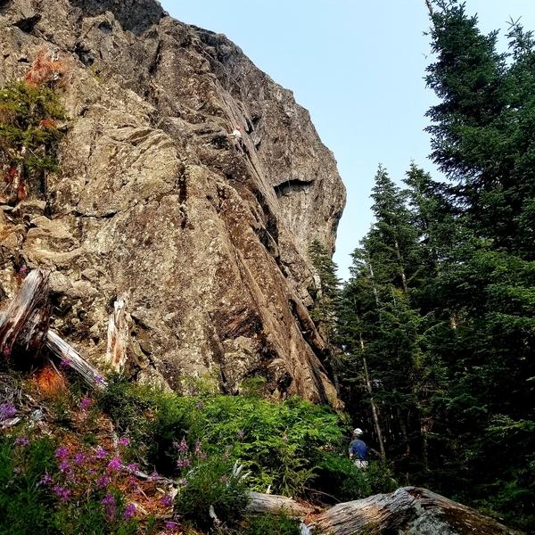 Iron Mt Crag left side slab, right side steep