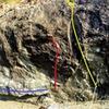 Left to Right: Houda Traverse (V6, Blue), Houda Shretah (V7+, Red), Houda Crack (V5/5.11+, Yellow)