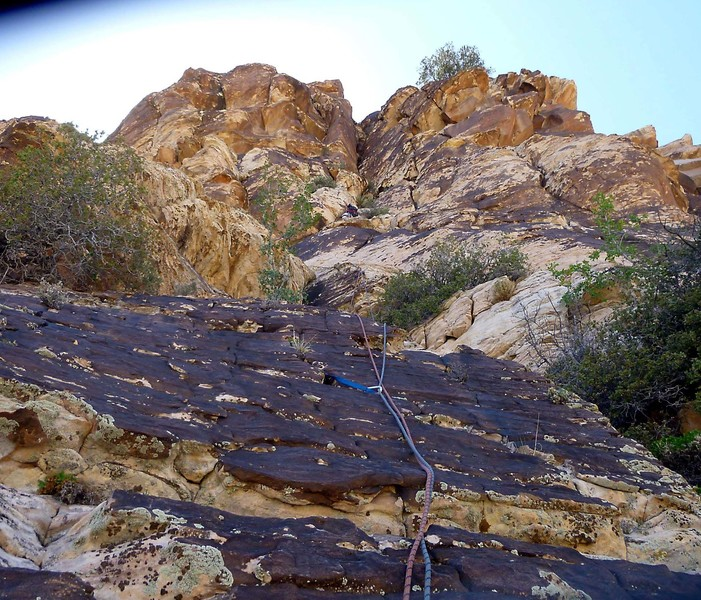 Nearing the top.  The route goes up and right to the pine tree on the skyline.